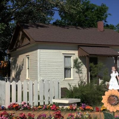 The replica of Dorothy's House in Liberal, Kansas.