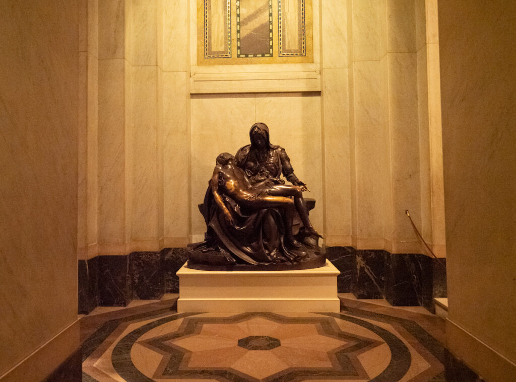 The replica of Michelangelo's Pieta at the Cathedral Basilica of St. Louis.