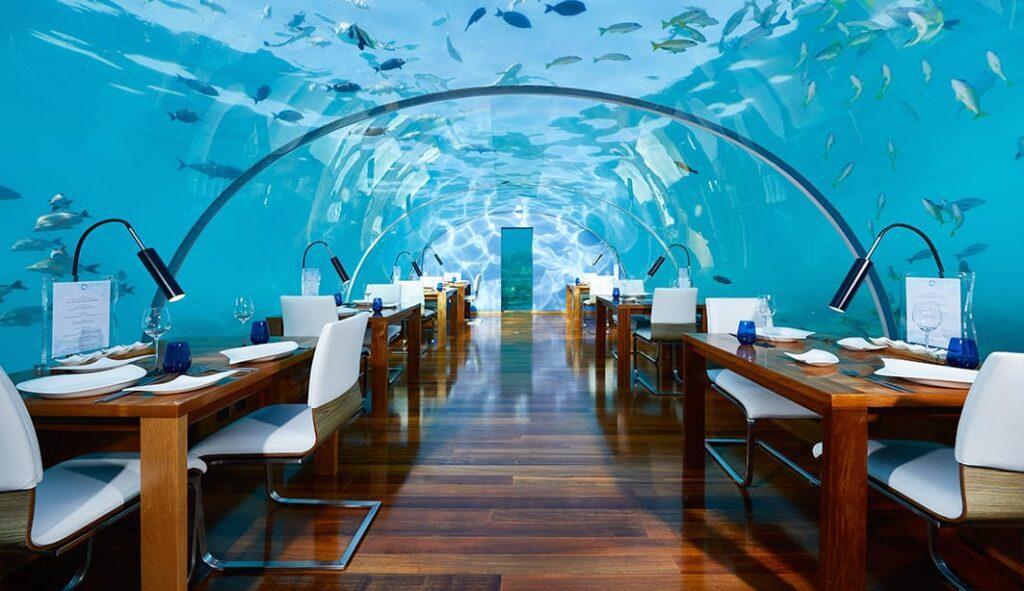 The restaurant in the underwater villas.