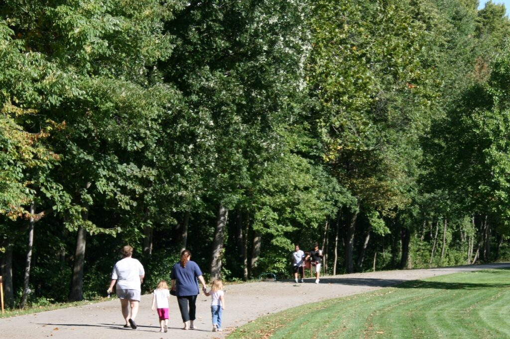 The Rivergreenway Trail through Fort Wayne, Indiana.