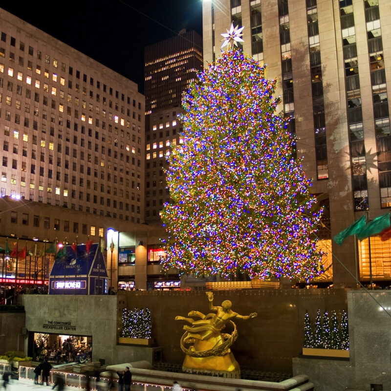 The Rockefeller Christmas tree in New York City.