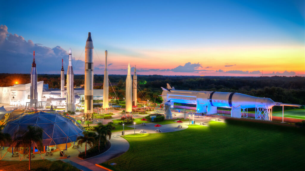 The Rocket Garden at the Kennedy Space Center Visitor Center.