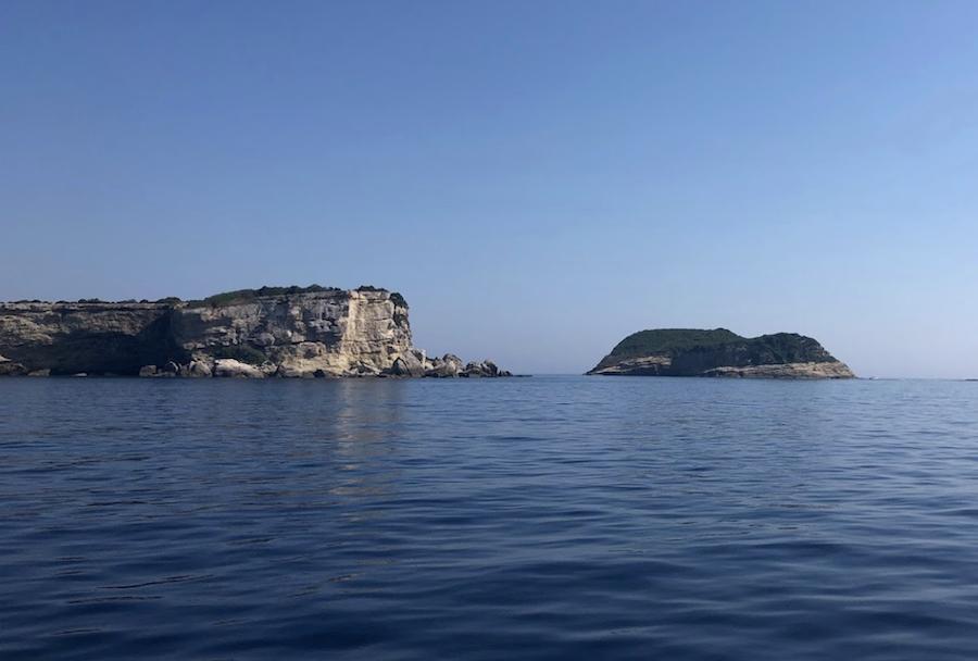 The rocky island of Diakopo in Greece.