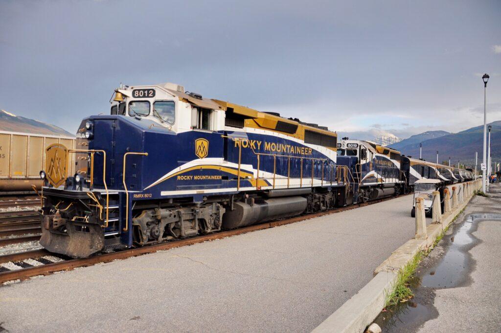 The Rocky Mountaineer train in Jasper.