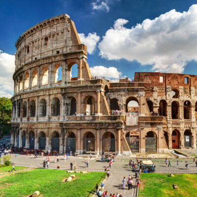 The Roman Colosseum in Italy.