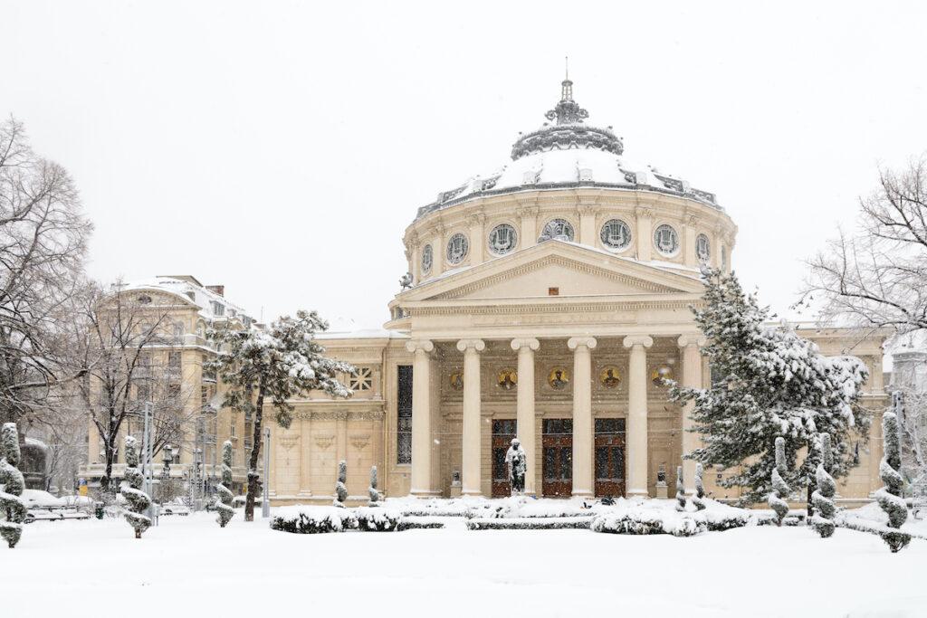 The Romanian Athenaeum in Bucharest, Romania.