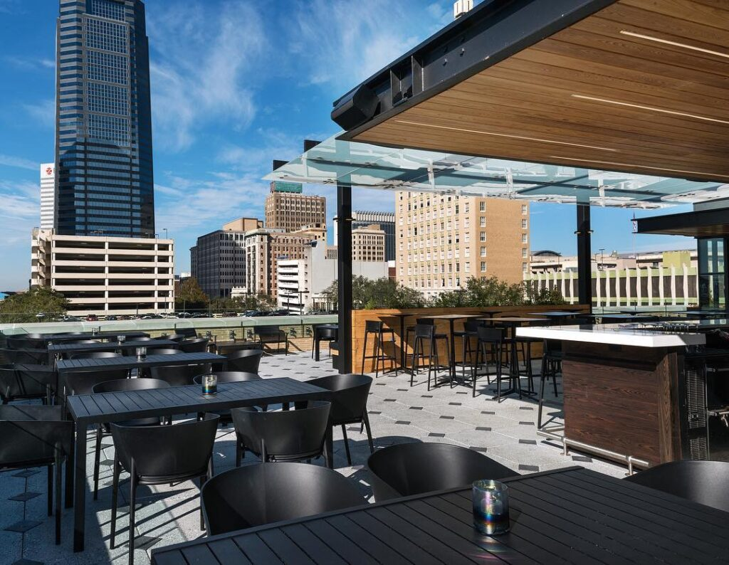 The rooftop bar at the Cowford Chophouse.