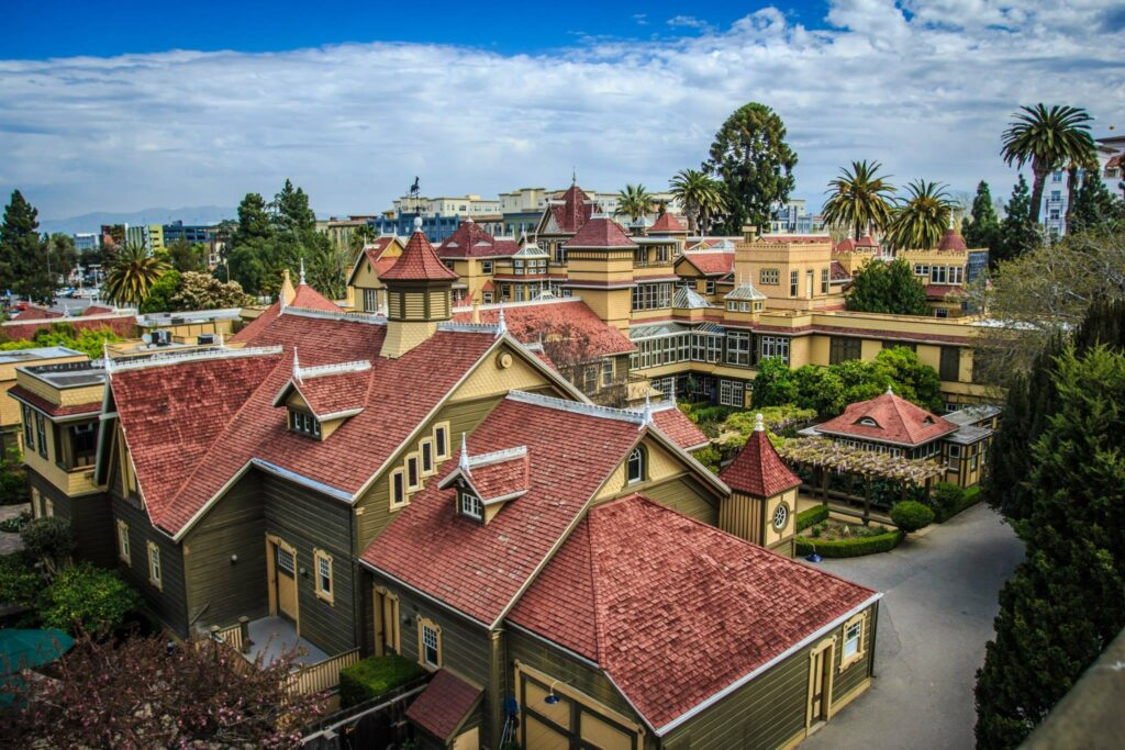 The rooftop of the Winchester House.