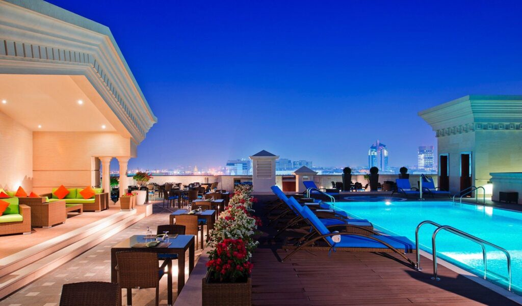 The rooftop pool at the Warwick Doha.
