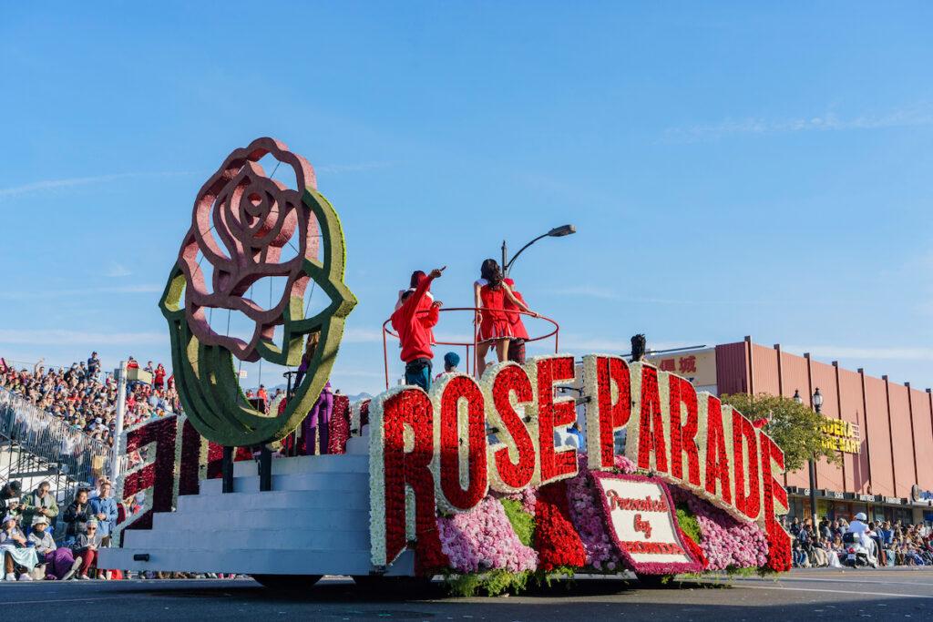 The Rose Parade in Pasadena, California.