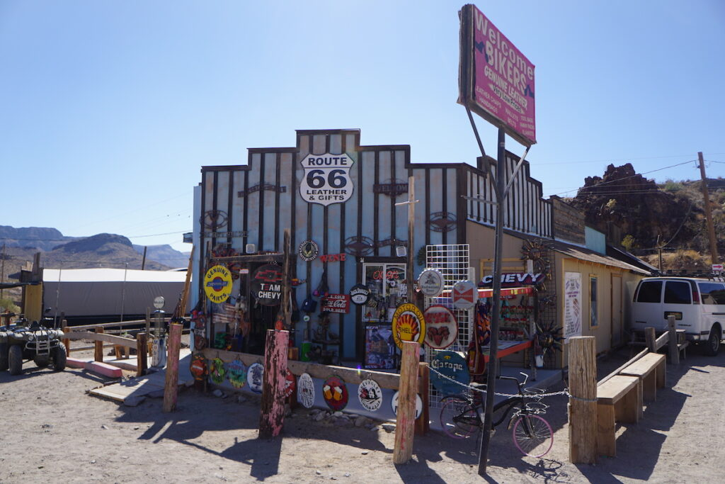 The Route 66 Leather and Gifts shop in Oatman.