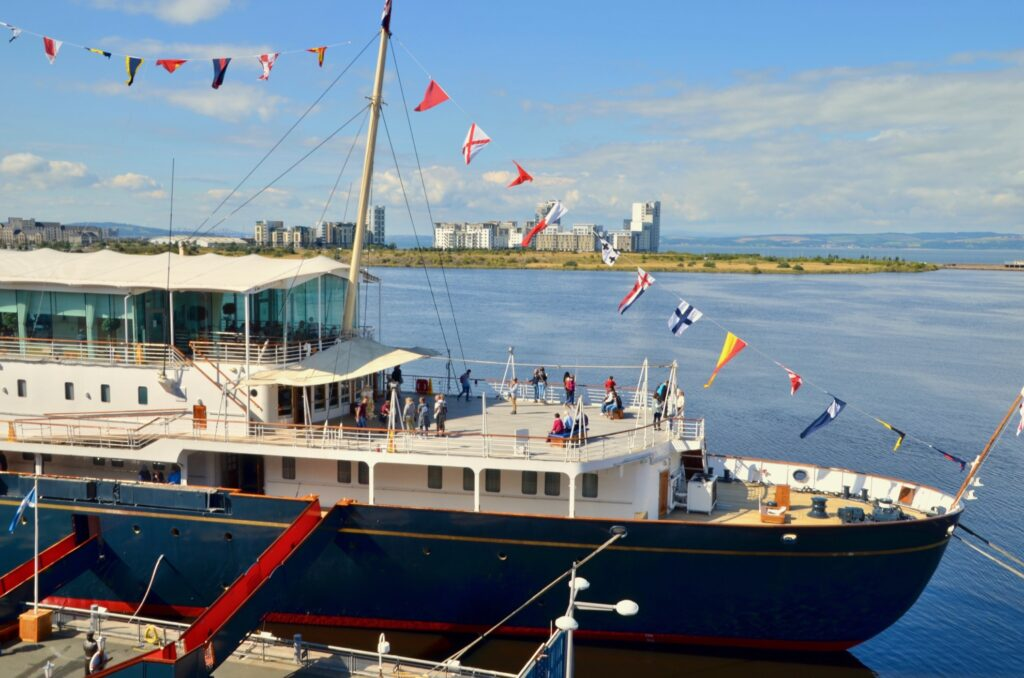 The Royal Yacht Britannia in Scotland.