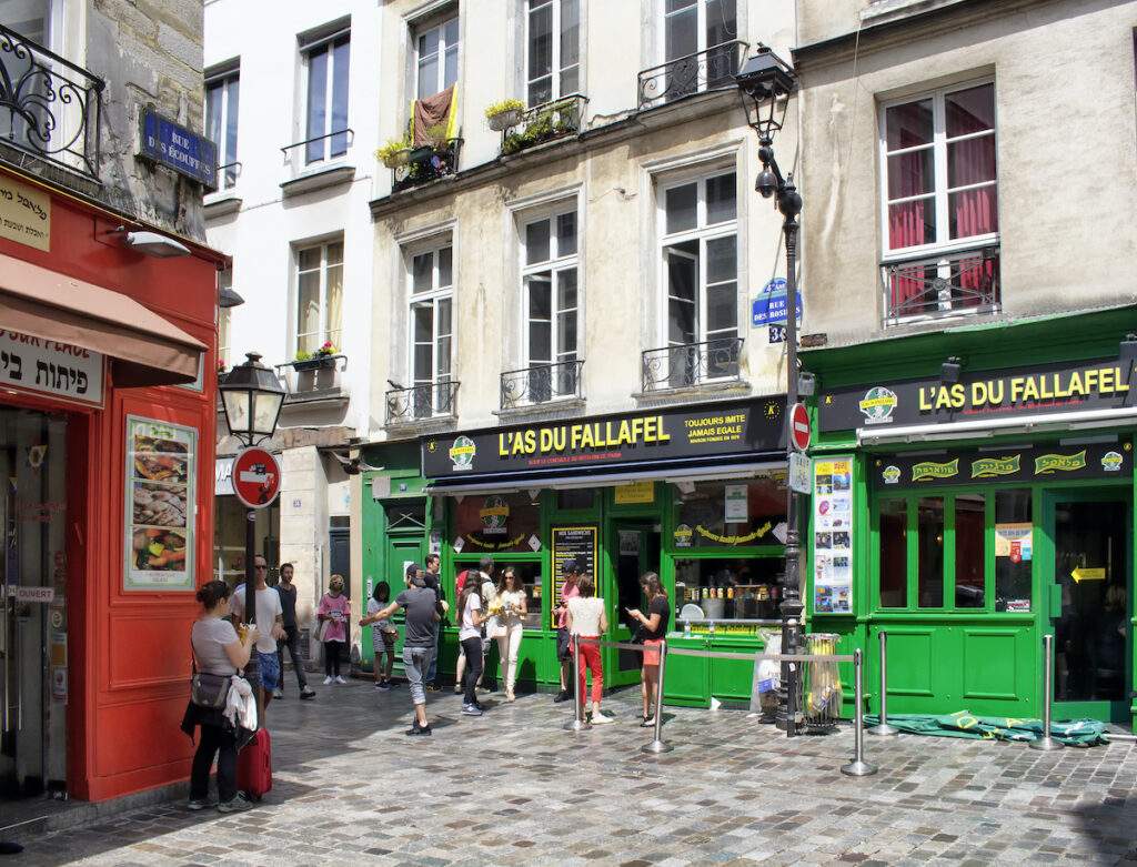 The Rue des Rosiers in the Jewish Quarter of Paris.