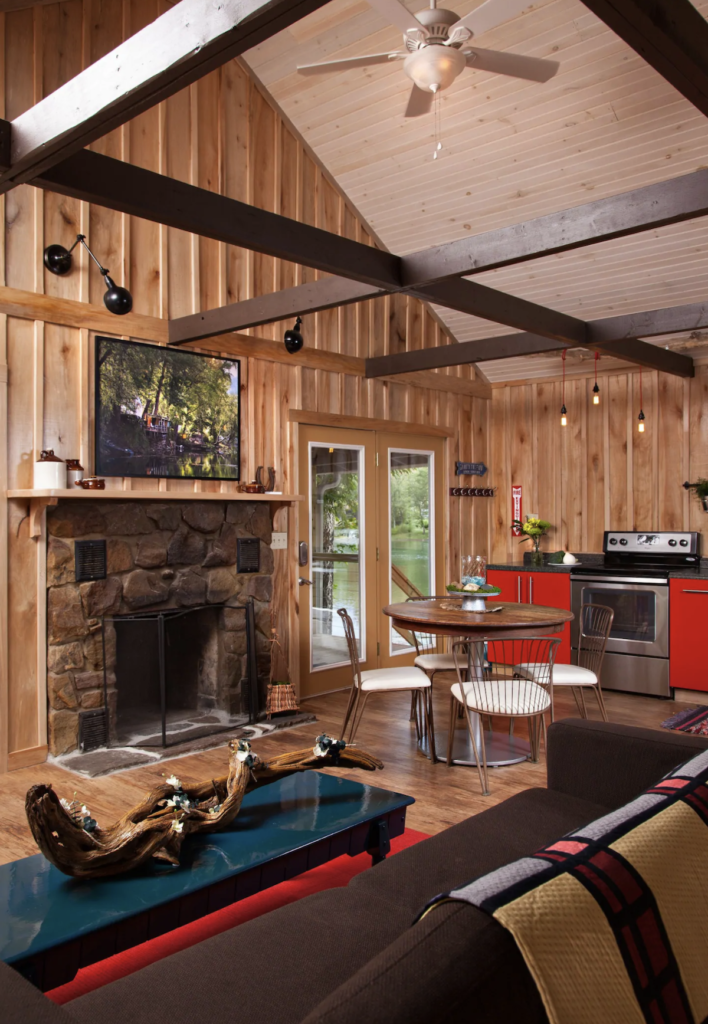The rustic interior of the Airbnb cabin in New River Gorge.