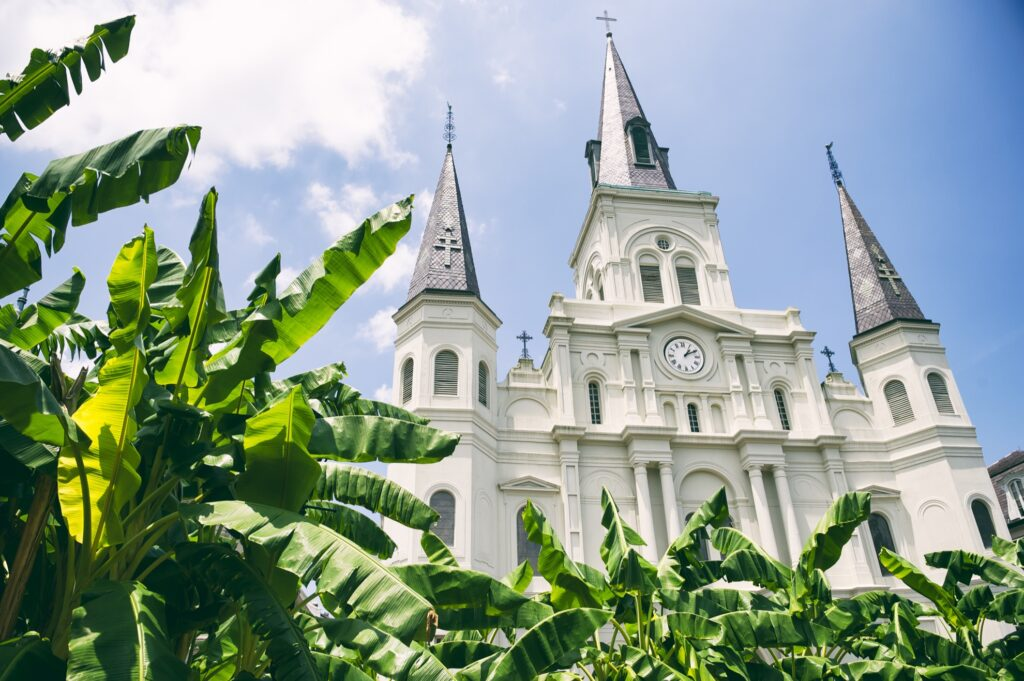 The Saint Louis Cathedral in New Orleans.
