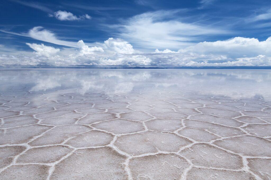 The salt flats of Salar de Uyuni in Bolivia.