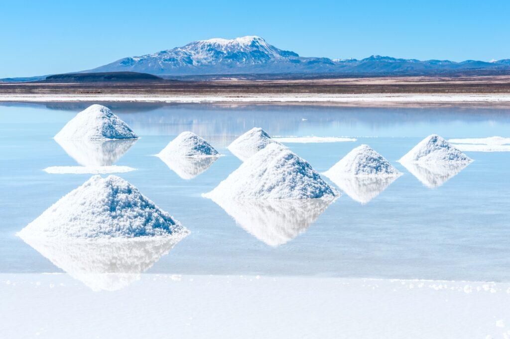 The salt lake of Salar De Uyuni in Bolivia.