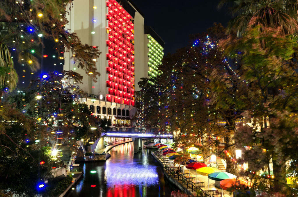 The San Antonio River Walk in Texas during Christmas.