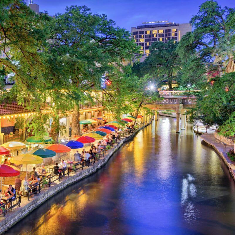 The San Antonio River Walk in Texas.