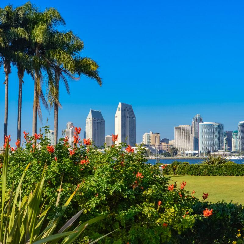 The San Diego skyline from Coronado Island in California.