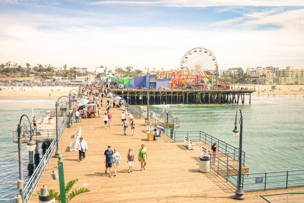 The Santa Monica Pier in California.