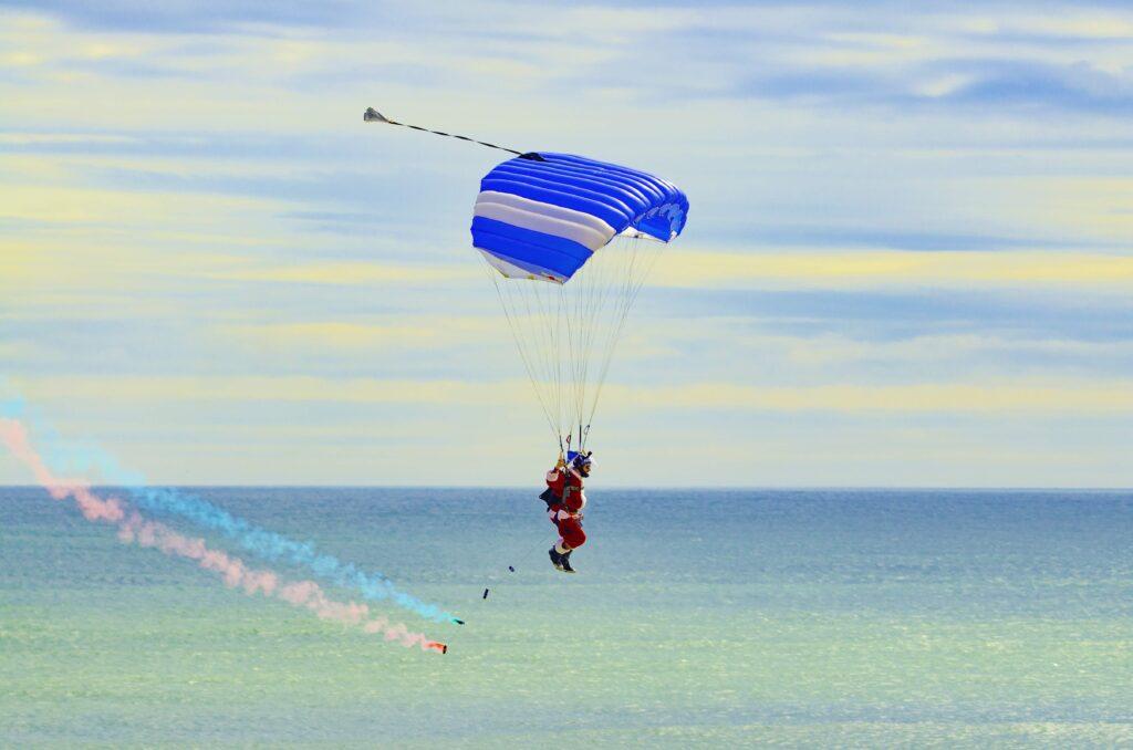 The Santa Skydivers at Cocoa Beach.