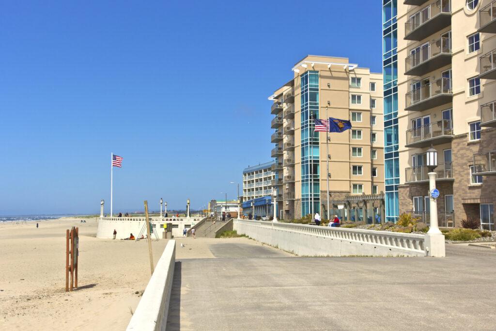 The Seaside Promenade along the beach in Seaside, Oregon.