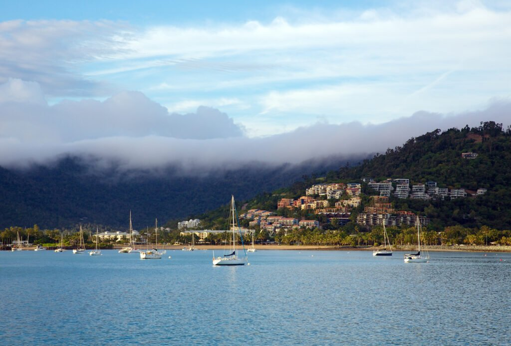 The seaside town of Airlie Beach in the Whitsundays.