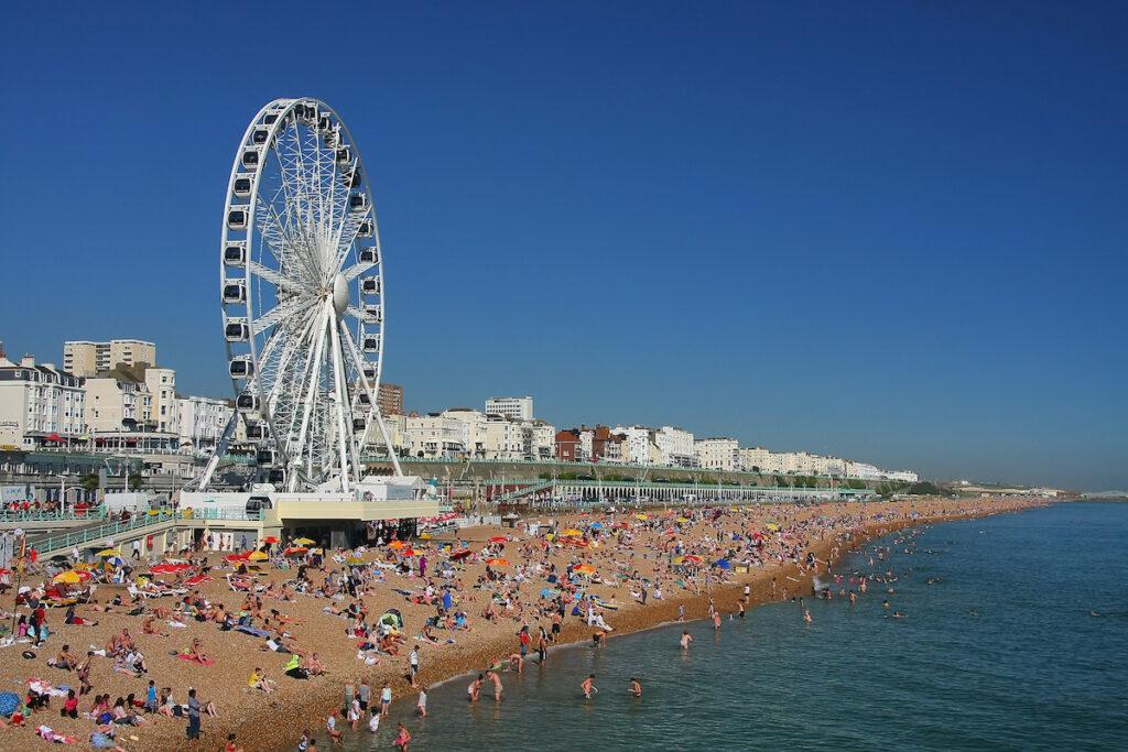 The seaside town of Brighton, England.