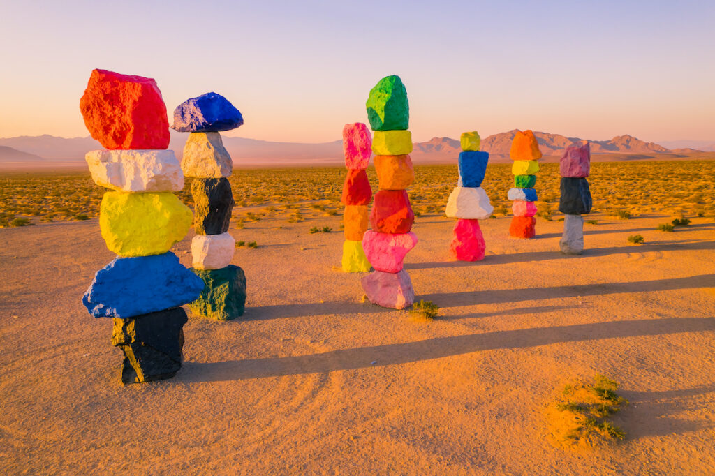 The Seven Magic Mountains in the Nevada desert.