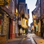 The Shambles in York, England, decorated for Christmas.