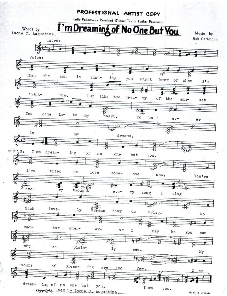"""The sheet music for """"I'm Dreaming of No One But You."""""""
