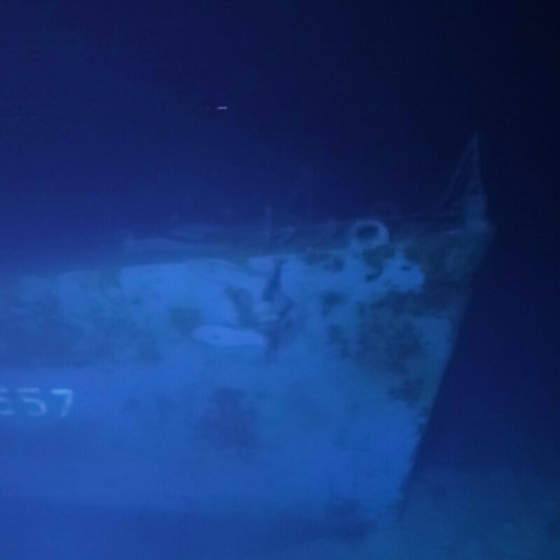 The ship wreckage.