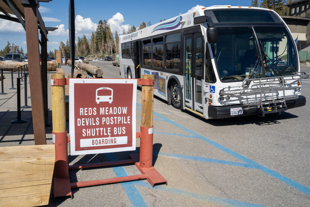 The shuttle bus to Devils Postpile National Monument in California.