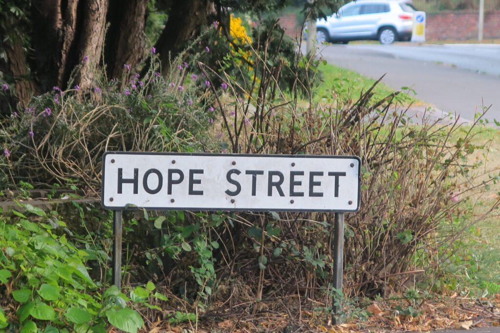 The sign for Hope Street.