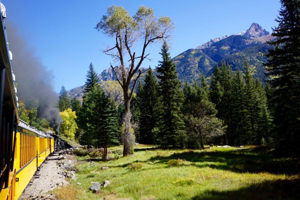The Silverton Train in the San Juan Mountains.