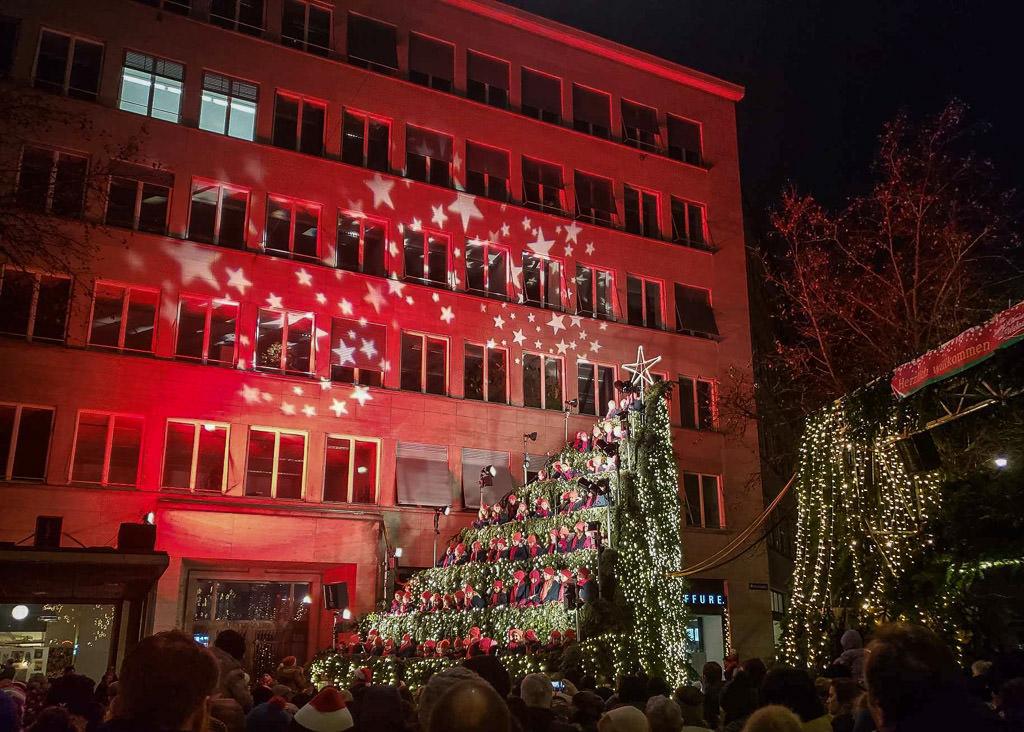 The Singing Christmas Tree in Zurich, Switzerland.