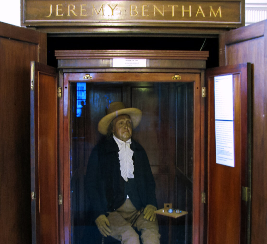 The skeleton of Jeremy Bentham.