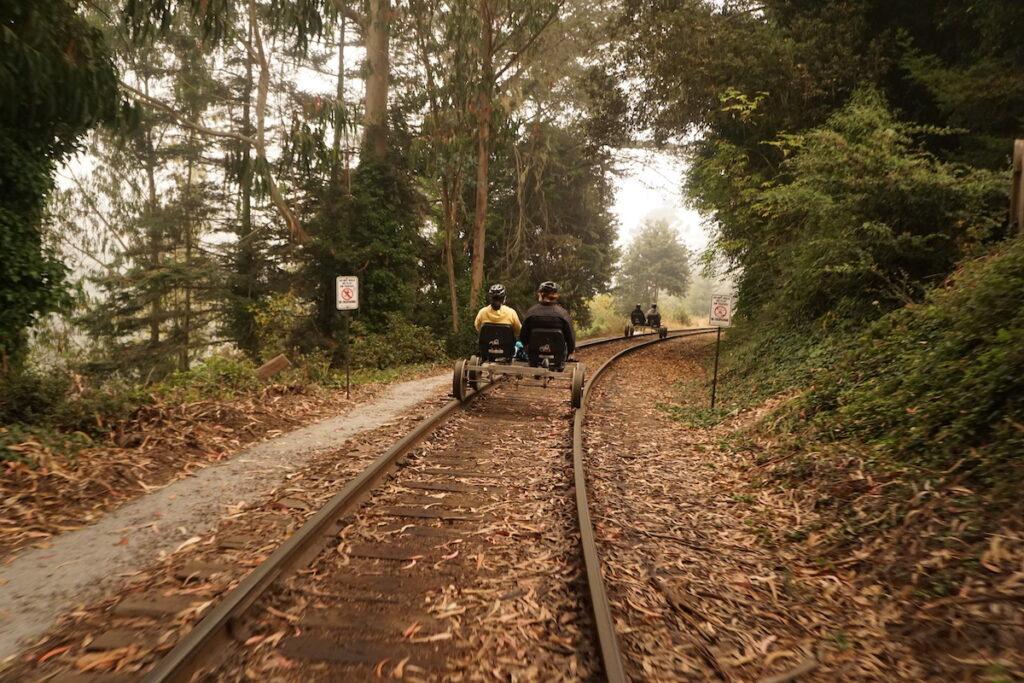 The Skunk Train railbikes in Fort Bragg.