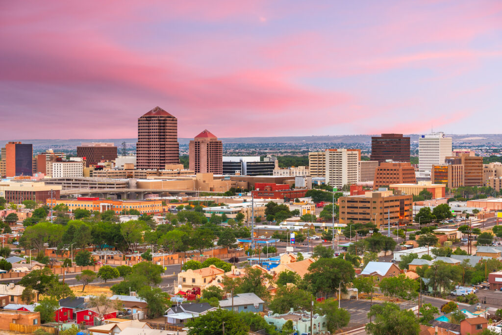 The skyline of Albuquerque, New Mexico.