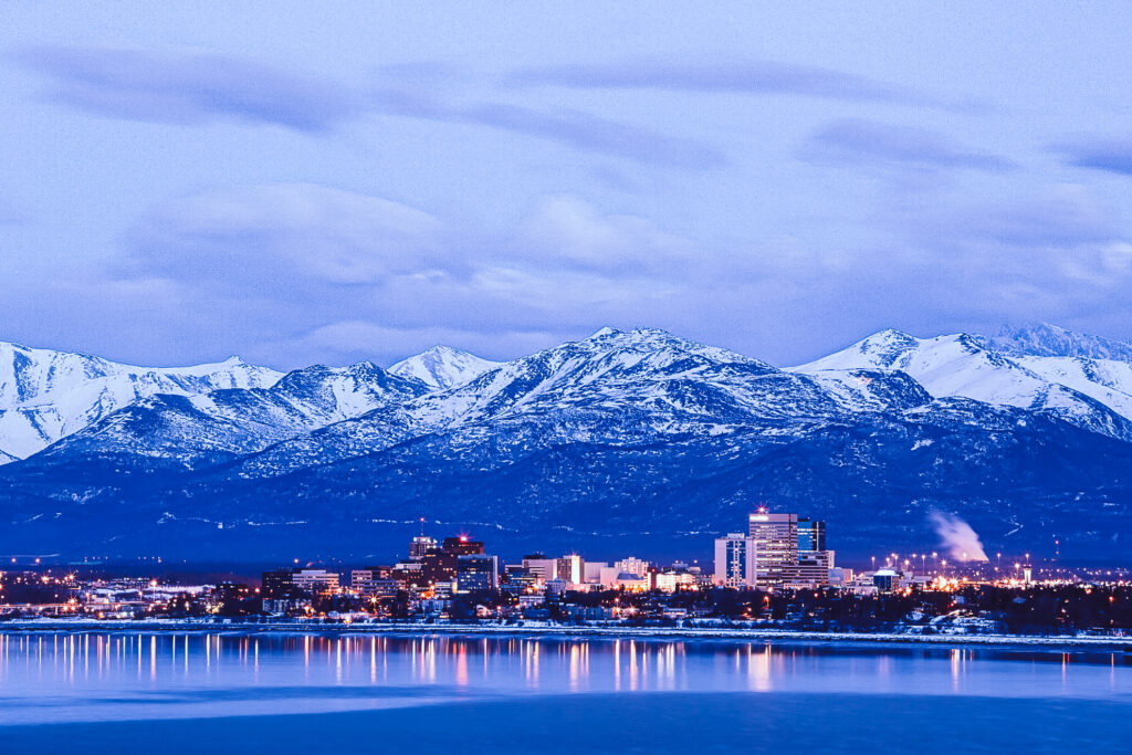 The skyline of Anchorage, Alaska