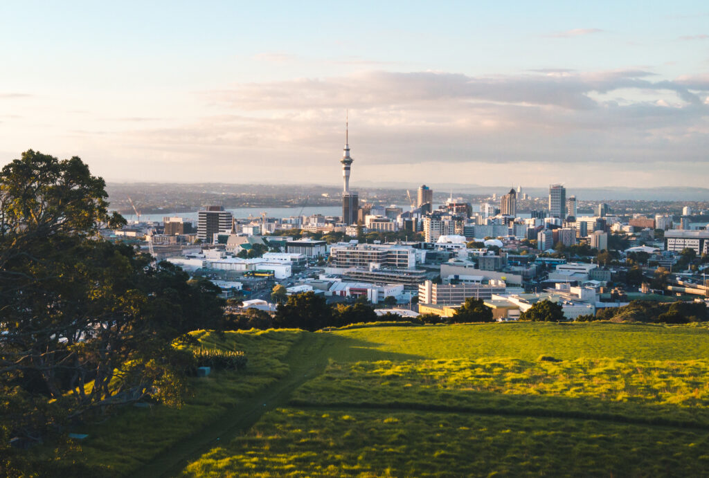 The skyline of Auckland, New Zealand.