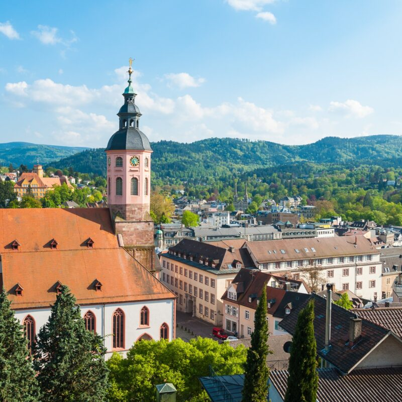 The skyline of Baden-Baden, a day trip from Frankfurt, Germany.