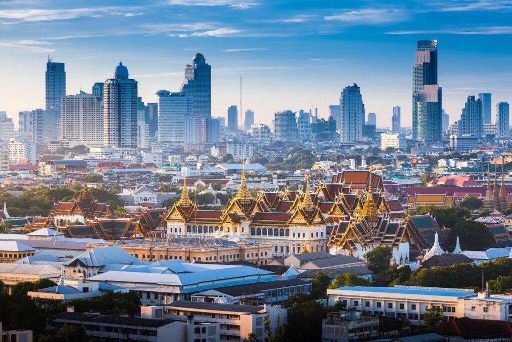 The skyline of Bangkok, Thailand.