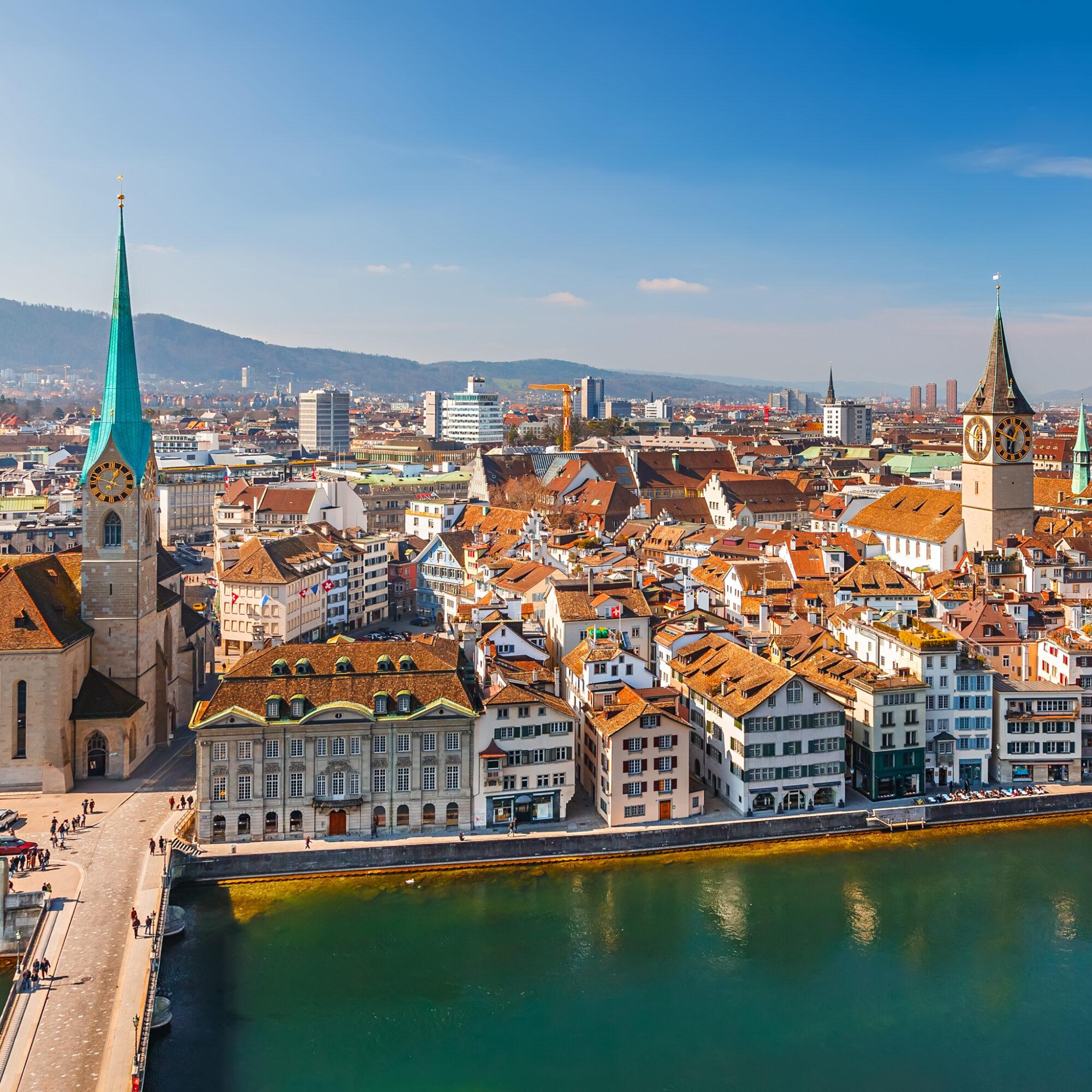 The skyline of beautiful Zurich, Switzerland.