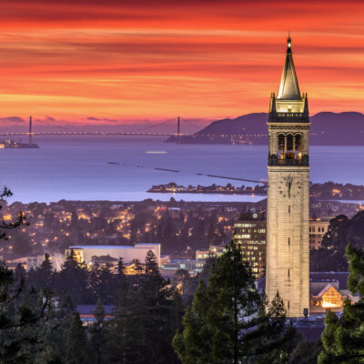 The skyline of Berkeley, California, at sunset.