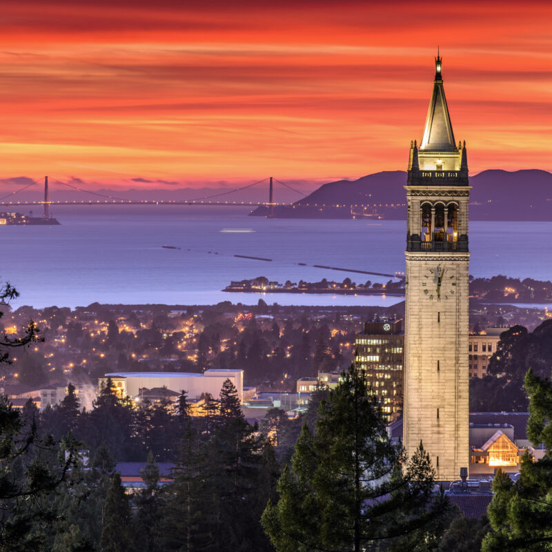 The skyline of Berkeley, California, at sunset.