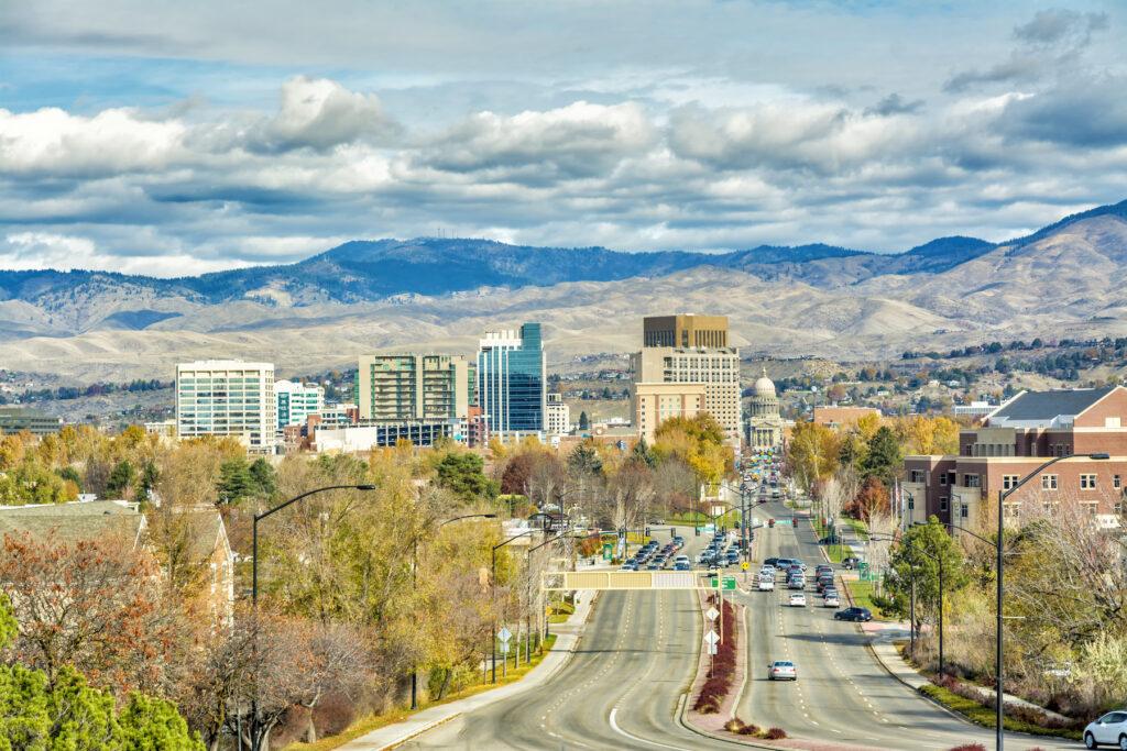 The skyline of Boise, Idaho.
