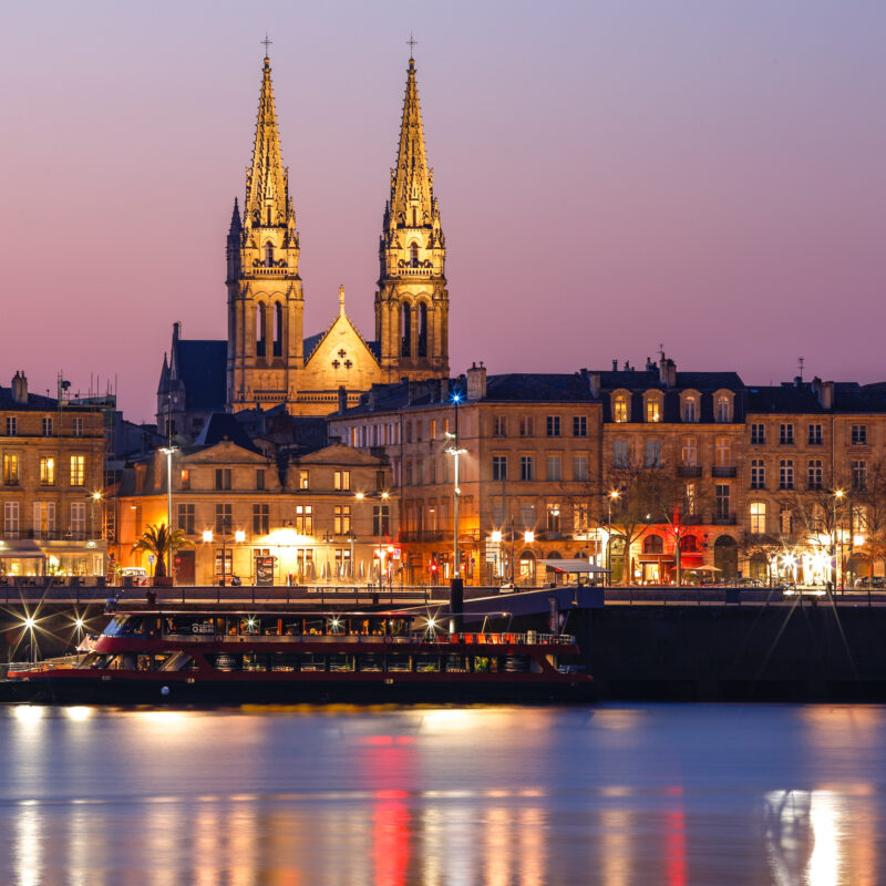 The skyline of Bordeaux, France.