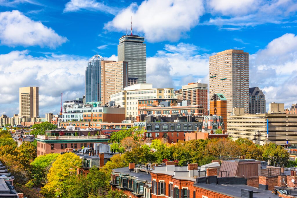 The skyline of Boston, Massachusetts.